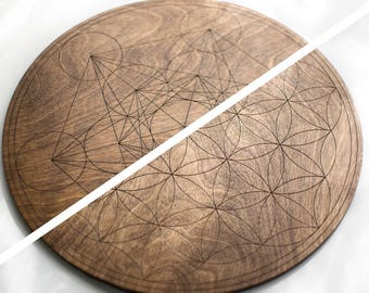 Warm Walnut Crystal Grid - Large & Double Sided - Flower of Life / Metatron's Cube - Birch Wood Altar Board - Sacred Geometry