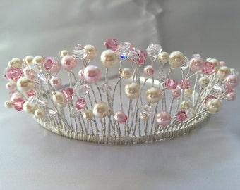Swarovski crystals and pearls on silver plated Tiara band - Handmade Charlotte Bridal or Prom Tiara