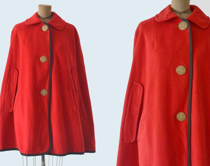 1950s Red Wool Poncho