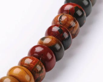 Set of 10 beads, colorful 8 x 5 mm, hole 1 mm