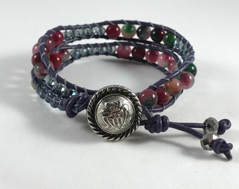Jade Leather Wrap Bracelet