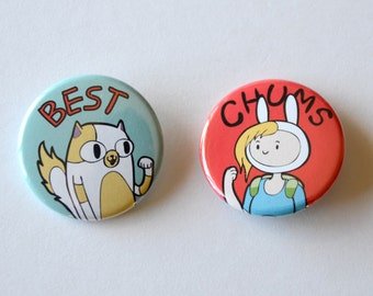 Adventure TIme Fionna and Cake / Finn and Jake - 2 Buttons