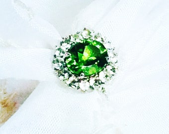 Peridot Halo Ring or Engagement Ring August Birthstone in Sterling Silver Handmade Jewelry by NorthCoastCottage Jewelry Design
