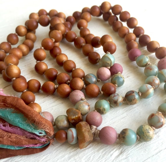 Sandalwood Mala Beads, Sapphire, African Opal, Rhodonite, Silk Sari Tassel Necklace, Yoga Jewelry, Meditation Prayer Beads