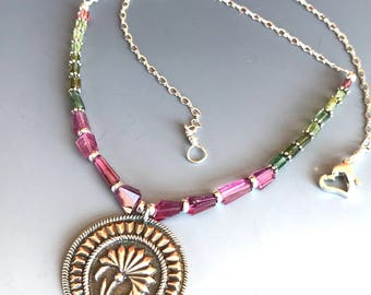 Sterling Silver Flower Medallion Tourmaline Necklace / Watermelon Tourmaline Necklace /  Gemstone Necklace / PMC Pendant