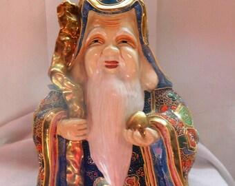 Porcelain Satzuma, longevity Shouxing God, essay, Beautiful porcelain Satzuma Immortal, sage porcelain Satzuma, marked