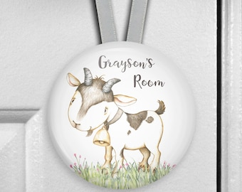 Personalized baby goat decor for nursery - childrens bedroom name signs - kids door hangers - personalized baby shower gifts - HAN-PERS-38