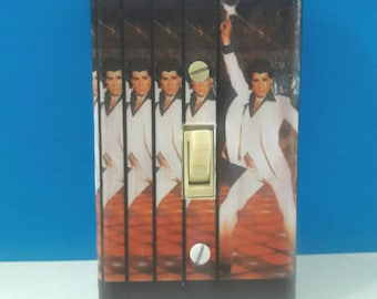 Handmade Decoupaged Saturday Night Fever Light Switchplate Cover, John Travolta Switchplate, Wall Decor, Disco, Retro, Made By Mod.