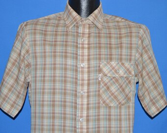70s Levi's Brown Green Plaid Shirt Medium