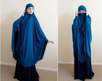 Transformator Türkis Khimar, Niqab Transformator, Türkis Niqab, grüne Nikab, traditionelle Hijab, bereit um zu tragen, lange Hijab, Burka, Hijab, abaya