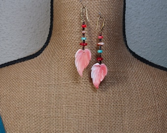 Native American Indian Natural Handcut Orange Spiny Oyster,AAA Red Coral,Turquoise Gemstones, Brass Earrings