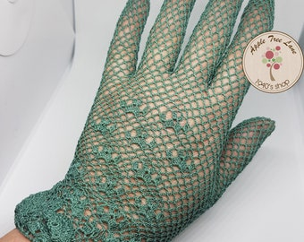1940's Style Crochet Gloves in Green, Vintage Gloves, Wedding Gloves, WW2 costume, 1950's, theater