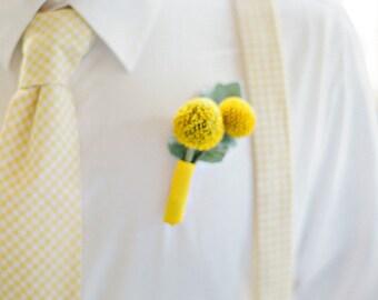 Men's Necktie and Suspenders in Yellow Gingham