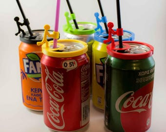 Stickman straw holder for soda cans