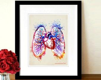 "Fine Art Print - ""Watercolor Pulmonary Vasculature"" 8.5"" x 11"",Anatomy Medical print, Pulmonologist Gift, Nurse Graduation gift, Lungs print"