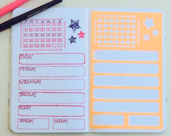 2 Bullet Journal Stencils - Weekly Spread, Monthly Overview, and Notes, Goals, Shopping Lists Etc.
