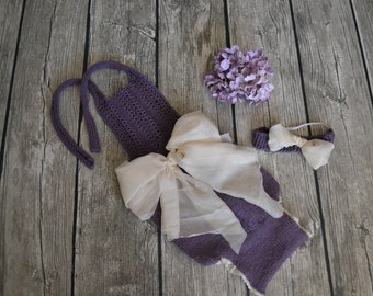girls sitter romper 6-12m hand knitted photography prop