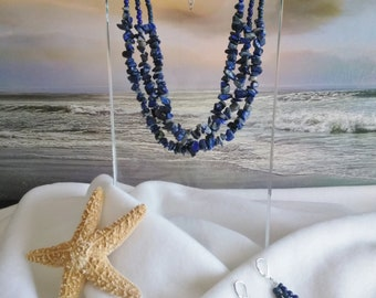 BLUE NECKLACE MULTISTRAND with Earrings