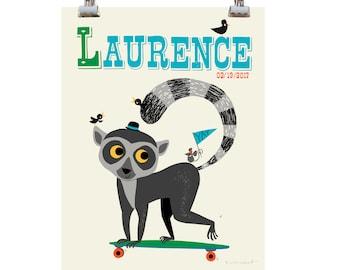 Personalised 'Long-Boarding Lemur Name Print, letter L, lemur Print, kids monkey Print, New Baby Gift,Nursery name print,New Baby name Print
