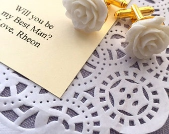 SPRING SALE Cufflinks, rose, flower, gold plated. CHOOSE colour. Free personalized card, jewelry box.