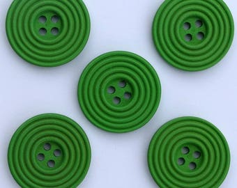 6 x wood Spiral 25 mm buttons: Green - 02280