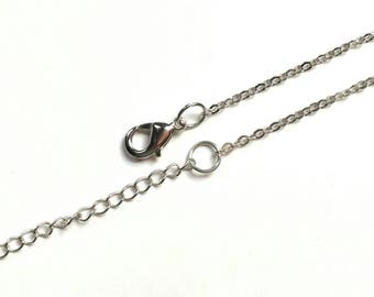 2 cable 16 inch chain, necklace chain, silver chain, choker chain, lobster clasp, plain chain, with extender