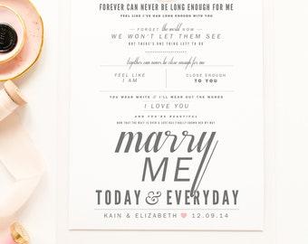 "Train ""Marry Me"" - Grey & Blush - Valentine's, Wedding Gift, Paper Anniversary Gift, Song Lyrics, Art Print"