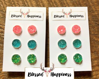 Pink,Green, & Ice Blue 12mm Funfetti Iridescent Druzy Stud Earring Trio Set