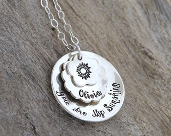Mother's Day Necklace,You are my sunshine, Sunshine, My only sunshine, Personalized sunshine necklace, Mothers Day, Personalized Jewelry