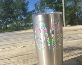 Lilly Pulitzer monogram decal - Lilly Pulitzer Yeti Decal - Lilly Pulitzer Car Decal