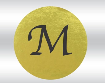100 Gold Foil Single Letter Monogram 2-inch stickers --100 stickers - seals - wedding, anniversary (ST60145)