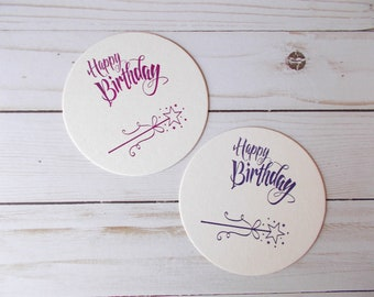 Wand Coasters, Princess Birthday Table Decor, Whimsical Coasters, Magical Birthday Party, Hand Stamped Drink Coasters
