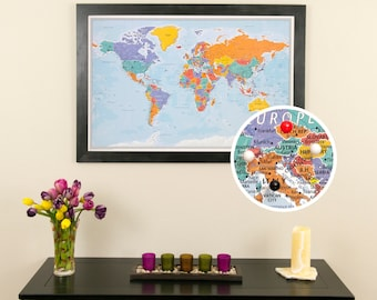 Blue Oceans World Push Pin Travel Map with Frame - Push Pin Travel Map - Use as a Wedding Guest Book - Track Client Locations - Pin Map
