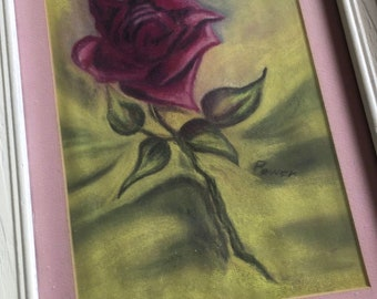 Rose Painting, Shabby Chic, Garden Cottage, Pink and  Mauve, Rose Decor,Vintage