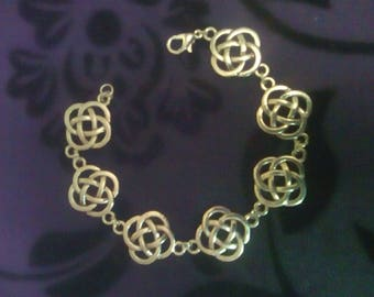 Tibetan Silver Celtic Knot Bracelet with Silver Plated Fastenings