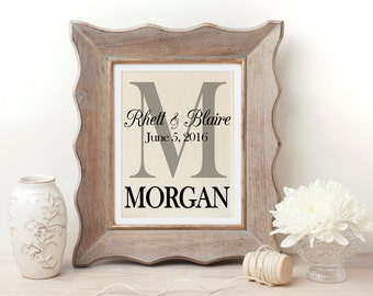 Personalized Wedding Gift | Monogrammed Wall Art | Wedding Date Print | Anniversary Gift | Housewarming Gift | Couple Gift | Date Print