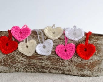 8 Crochet Heart Applique Motifs - Small size Applique Motif Embellishments