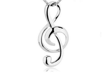 1 PENDANT 925 STERLING SILVER MUSIC CLEF MUSICAL NOTE.