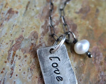 Rustic Stamped Word Necklace