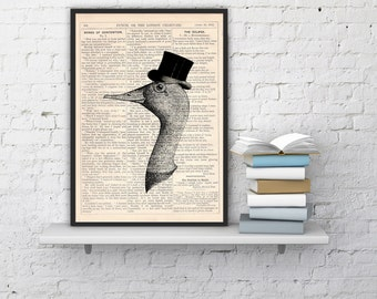 Gentleman goose Vintage Book Print Dictionary or Encyclopedia Page Print Perfect  gift art ANI156