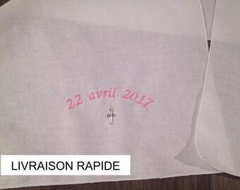 Baptism scarf, custom name embroidered shawl, name, cross pendant, Church