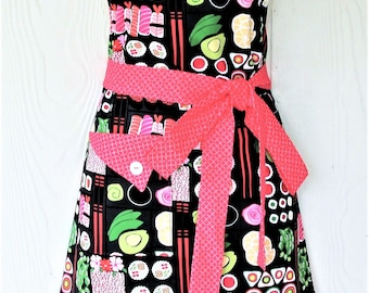 Retro Apron for Sushi Lovers Foodie Apron Housewarming Gift for Her Vintage Style Full Apron for Women KitschNStyle