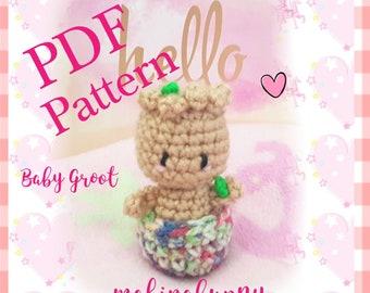 PDF PATTERN Tiny Baby Groot Pattern, Cute Groot crochet pattern, Amigurumi Groot keychain, Crochet Groot, Baby Groot Plush, Kawaii amigurumi