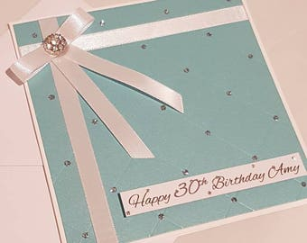 Elegant Turquoise Birthday Card, Milestone Birthday Card, Happy Birthday Card, Personalised Card