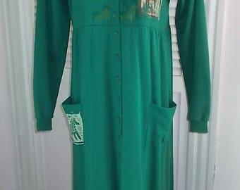 Shamrock Green Vintage A1A Special Block Print Button-Down Dress - OS