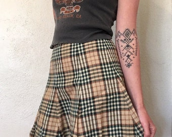 70s Plaid High Waisted Skirt