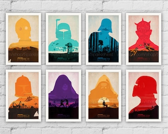 Star Wars Posters. BB8. Rey. C-3PO. Darth Vader. Kylo Ren. Luke Skywalker Art Print. Modern Home Wall Decor. Set of 8 Prints. Item No.: 133
