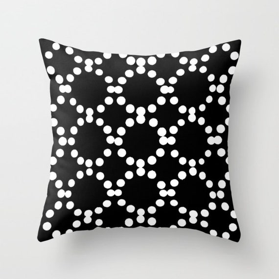 OUTDOOR Throw Pillow . Black Outdoor Pillow . Black and White patio cushion . Modern Geometric Pillow Ring Dot . 16 18 20 inch . Rectangle