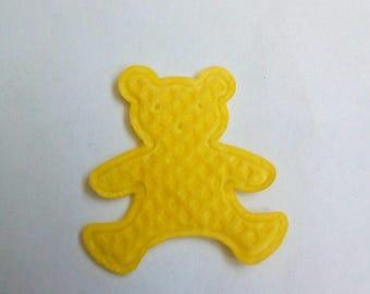 Applique fabric bear yellow 19x17mm