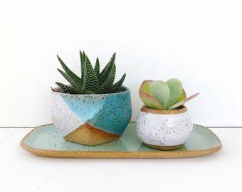 Ceramic Planter Turquoise White / Pottery for Succulents, Cacti or House Plants / The Mauna Planter / READY TO SHIP